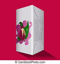Pomegranate juice box on a colored background - Vector