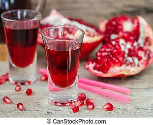Pomegranate juice. Soft focus