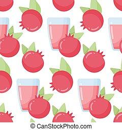 Pomegranate juice vector seamless pattern