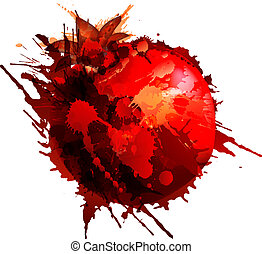 Pomegranate made of colorful splashes on white background