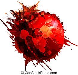 Pomegranate made of colorful splashes on white background