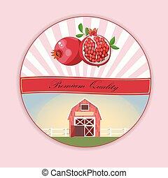 pomegranate or garnet Label. Farm design. Best juice or...