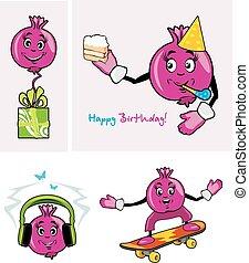 pomegranate., personagem, engraçado