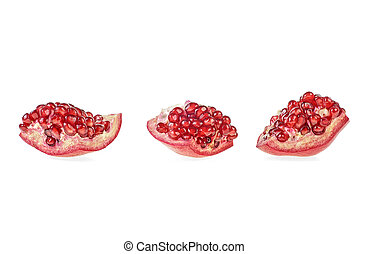 Pomegranate pieces isolated on white background
