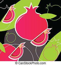 Pomegranate retro texture - wild pink and black