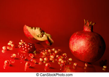 Scattered pomegranate seeds