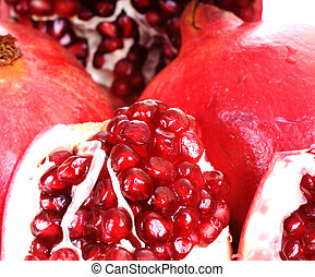 The mighty pomegranate on white background.
