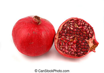 pomegranate - ripe, and fresh half and full pomegranate