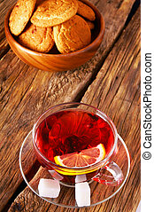 Pomegranate tea with Cookies.