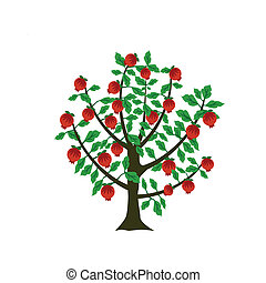 Pomegranate tree - pomegranate tree in decorative style
