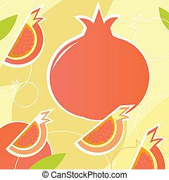 Pomegranate - wild retro stylized texture - orange