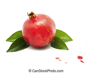 Pomegranate with juice drops