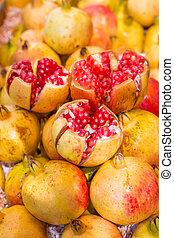 Pomegranates in the store.