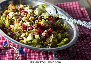 pomegranite brussel spout salad with walnuts - Balsamic ...