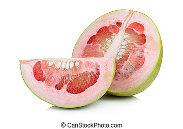 Pomelo fruit on white background