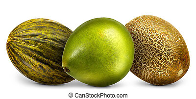 pomelo, melonen, weißes, gruppe, freigestellt