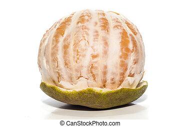 pomelo, weißes, geöffnet, hintergrund, freigestellt