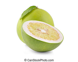 Pomelo with half an isolated on the white background