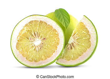 Pomelo with half of it isolated on the white background