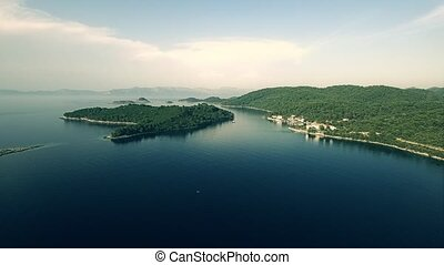 Pomena at Island Mljet aerial - Copter aerial view of the...