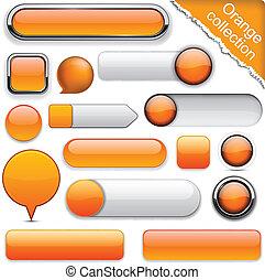 pomeranč, buttons., high-detailed, moderní