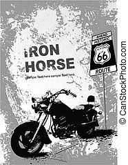 pomeranč, fádní grafické pozadí, s, motocykl, image.,...
