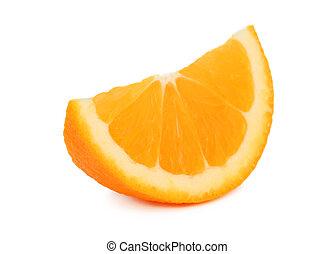 pomeranč, krajíc,  (isolated), Zralý