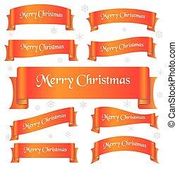 pomeranč, lesklý, barva, merry christmas, heslo, oblý, lem, standarta, eps10