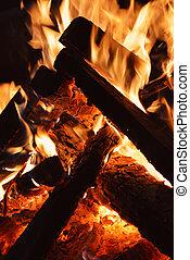 pomeranč, poleno, večer, jas, krb, -, hořící, oheň, dřevěný
