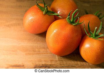 pomeranč, rajče, dále, dřevo, grafické pozadí, s, proložit, jako, text