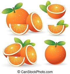 pomeranč, s, list, dát