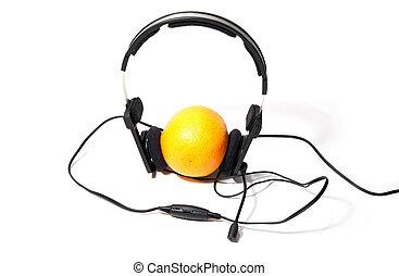 pomeranč, sluchátka