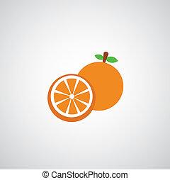 pomeranč, vektor, karikatura