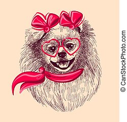 Pomeranian dog in fashionable glasses and scarf. A sketch ...