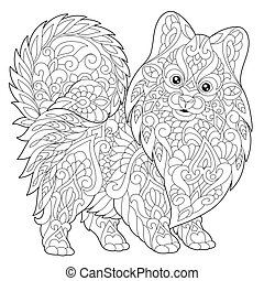 Pomeranian puppy dog - Coloring page of pomeranian dog,...