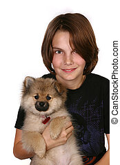 Pomeranian Puppy With Boy Isolated on White