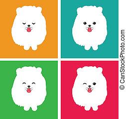pomeranian, vecteur, chien, image