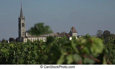 Pomerol in Bordeaux vineyard - the bell tower of Pomerol...