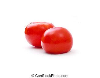 pomidor, biały, odizolowany, czerwony