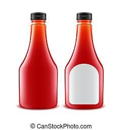 pomidor, komplet, butelka, znakowanie, odizolowany, plastyk, szkło, wektor, tło, czysty, biały, etykieta, ketchup, czerwony
