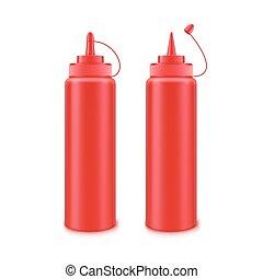 pomidor, komplet, butelka, znakowanie, odizolowany, wektor, plastyk, bez, tło, czysty, biały, etykieta, ketchup, czerwony