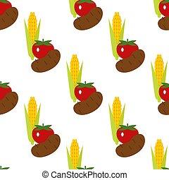 pomidor, nagniotek, illustration., kartofel, próbka, seamless, plon, wektor, wole, tło, czas, żniwa