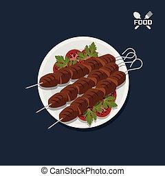 pomidor, płyta., mięso, kebab, restauracja, górny, jadło., wizerunek, rożen, prospekt., ikona, mąka, dish.