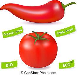pomidor, pieprz, chili, gorący czerwony