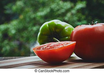 pomidor, pieprz, zielony