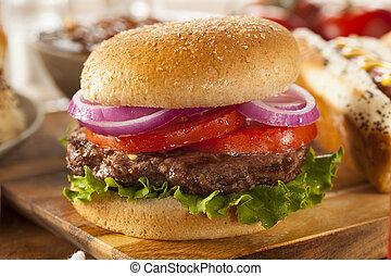 pomidor, sałata, serdeczny, hamburger, opieczony