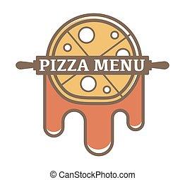 pomidor, szpilka, menu, logotype, promocyjny, kołyszący, sos, pizza