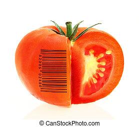pomidor, zidentyfikowanie, produkt, przedstawiać, szyfrowany