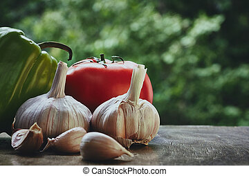 pomidor, zielony, głowy, czosnek, pieprz