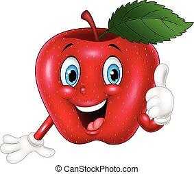 pomme, abandon, pouces, dessin animé, rouges